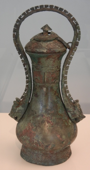 mixed metal vase early chinese bronzes